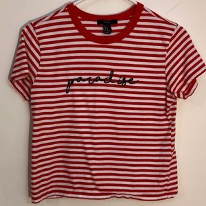 3/$10 F21 M Paradise cropped striped tee red white
